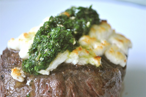 Seared Tenderloin with Chimichurri and Toasted Goat Cheese.