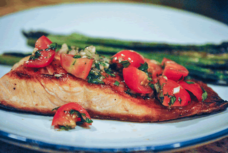 Oven-Roasted Salmon with Fresh Tomato Relish
